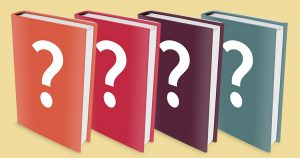 four books, orange, red, purple and green, each with large white question marks on the covers