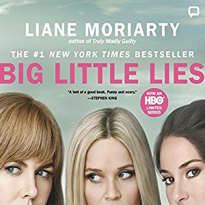 HBO TV series tie-in cover of Big Little Lies featuring upper faces of Nicole Kidman, Reese Witherspoon & Shailene Woodley - aka Celeste, Madeline & Jane