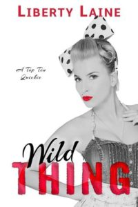 Black and white picture of a blonde girl with ruby red lips - she's dressed like a 50's pinup girl - the author name and second word of the title are bright red too.