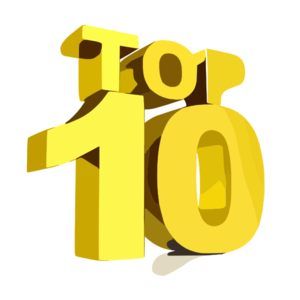 "Graphic which says ""Top 10"" in gold letters"