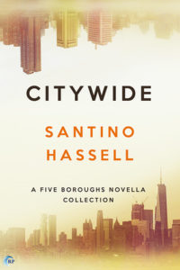 New York skyline in golds and browns, the top of the cover is a mirror image of it