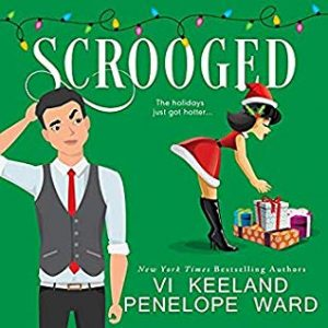 Illustrated cover with a green background; a man in a tie and waistcoat scratches his head and looks confused in the foreground and in the back right, a sexy lady-elf bends over some presents