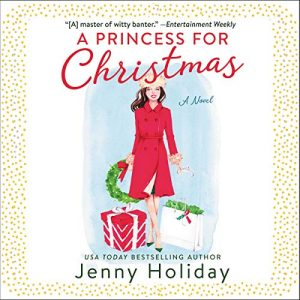 Illustrated cover of a white woman with long dark hair in a red wool coat carrying Christmas gift bags