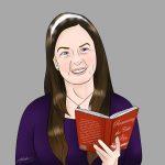 "illustration of Kaetrin holding a book ""Romancing the Cake"""