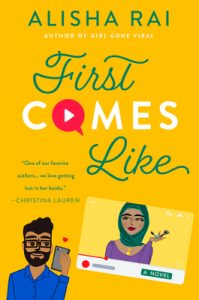Mustard yellow illustrated cover. A bearded Indian man looks at his phone on the left and a Desi woman in a hijab is on a screen on the right.