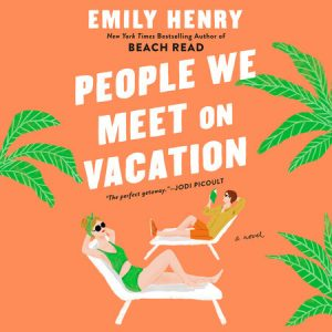 Illustrated cover; orange background with palm trees motif, a white woman in a green tank suit and a white man in a shirt and shorts reading a book, relax on lounge chairs, facing in opposite directions